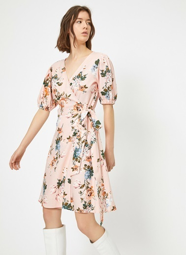 Koton Koton Çiçek Desenli Anvelop Midi Elbise Pembe